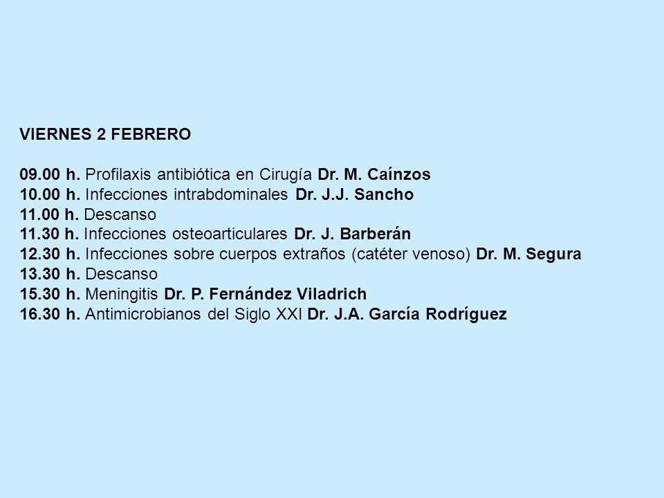 VIERNES 2 FEBRERO 09.00 h. Profilaxis antibiótica en Cirugía Dr. M. Caínzos 10.00 h. Infecciones intrabdominales Dr. J.J. Sancho 11.00 h. Descanso 11.