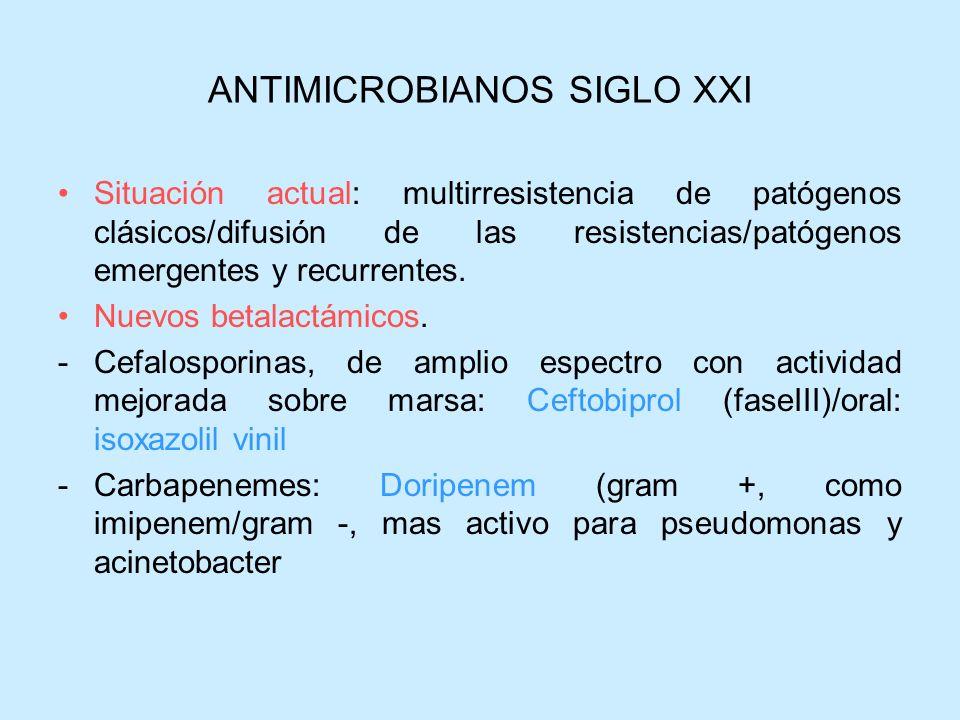 ANTIMICROBIANOS SIGLO XXI Situación actual: multirresistencia de patógenos clásicos/difusión de las resistencias/patógenos emergentes y recurrentes. N
