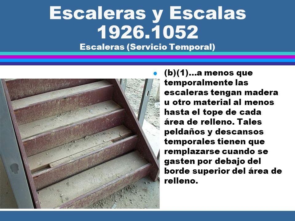 Escaleras y Escalas 1926.1052 SEscaleras (Servicio Temporal) l (b)(1) Excepto durante la construcción de la escalera, el tráfico a pie está prohibido