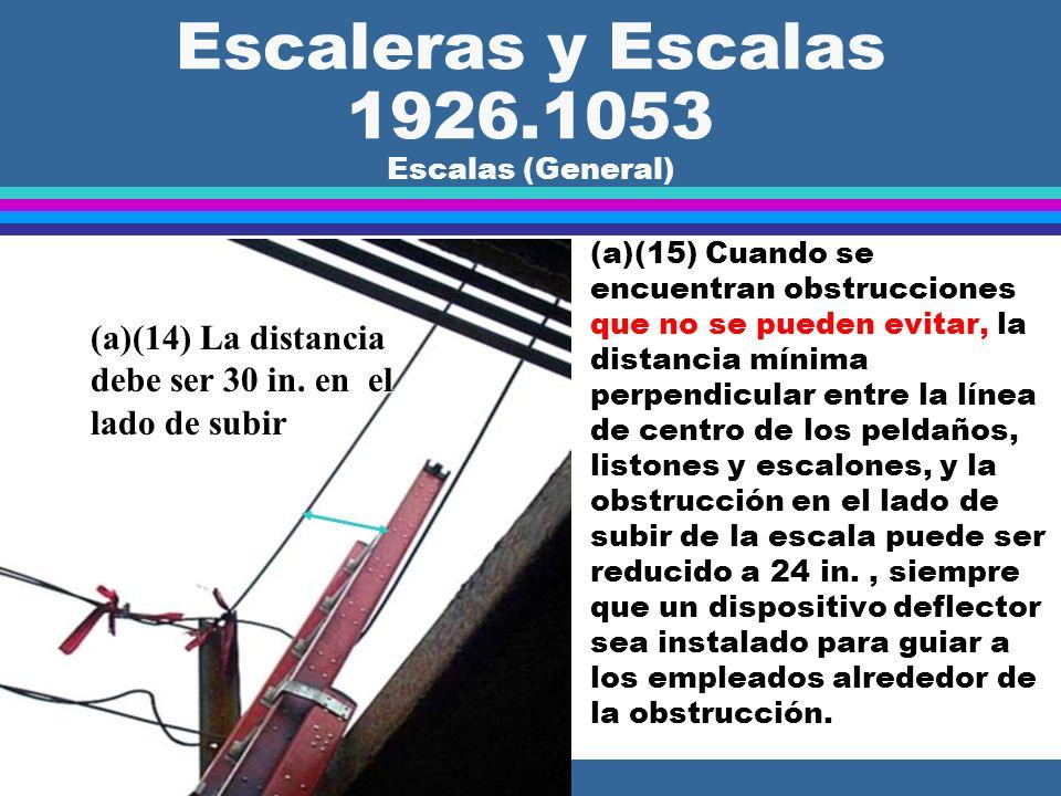Escaleras y Escalas 1926.1053 Escalas (General) l (a)(13) La distancia mínima perpendicular entre los peldaños, listones de madera y escalones de una
