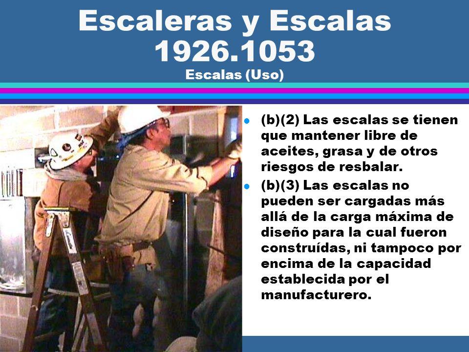 Escaleras y Escalas 1926.1053 Escalas (Uso) l (b)(1) Cuando una escala portátil es usada para acceder a una superficie de descanso superior, las baran