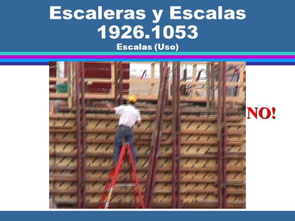 Escaleras y Escalas 1926.1053 Escalas (Uso) l (b)(4) Las escalas sólo se pueden usar para el propósito para el cual fueron diseñadas. NO