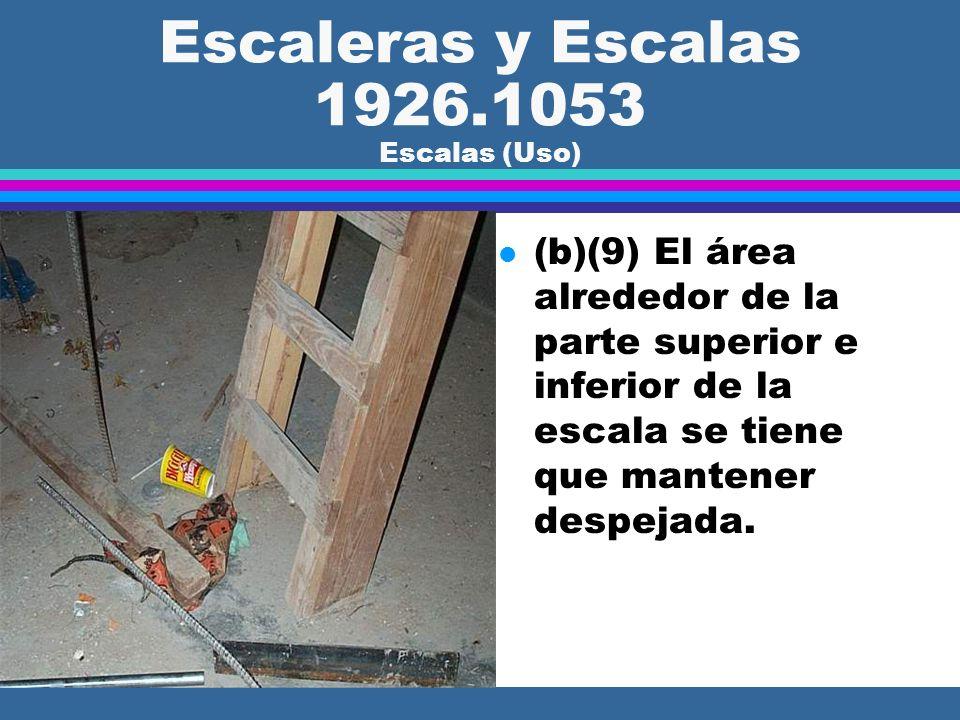Escaleras y Escalas 1926.1053 Escalas (Uso) l (b)(8) Las escalas puestas en cualquier lugar donde puedan ser desplazadas por las actividades en el lug