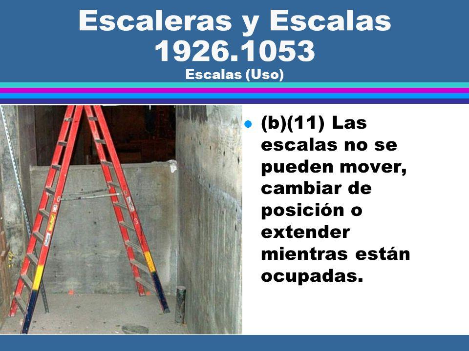 Escaleras y Escalas 1926.1053 Escalas (Uso) l (b)(9) El área alrededor de la parte superior e inferior de la escala se tiene que mantener despejada.