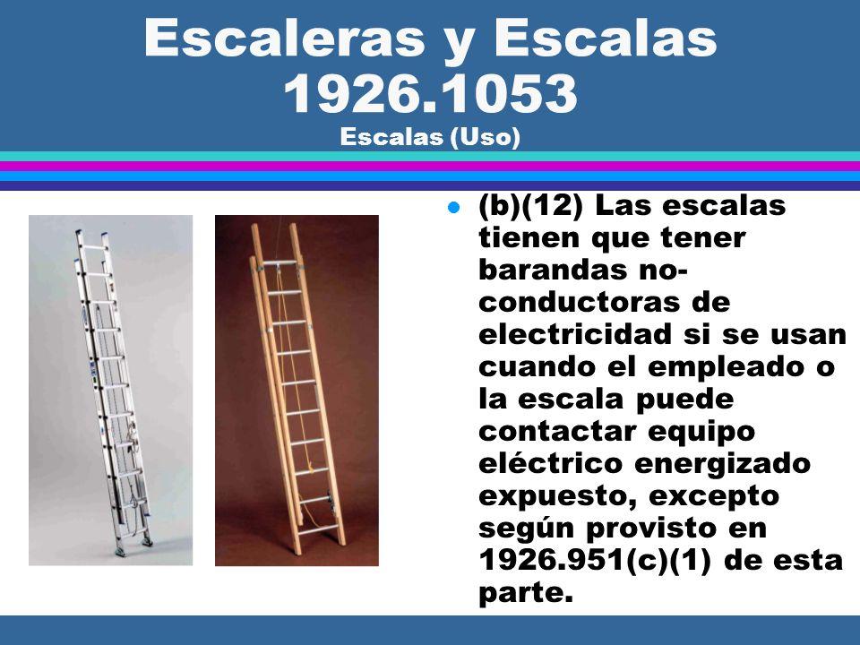 Escaleras y Escalas 1926.1053 Escalas (Uso) l (b)(11) Las escalas no se pueden mover, cambiar de posición o extender mientras están ocupadas.
