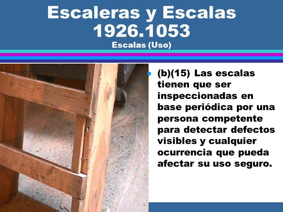 Escaleras y Escalas 1926.1053 Escalas (Uso) l (b)(14) Las crucetas (tijerillas) en la parte posterior de las escalas de tijera no se pueden usar para