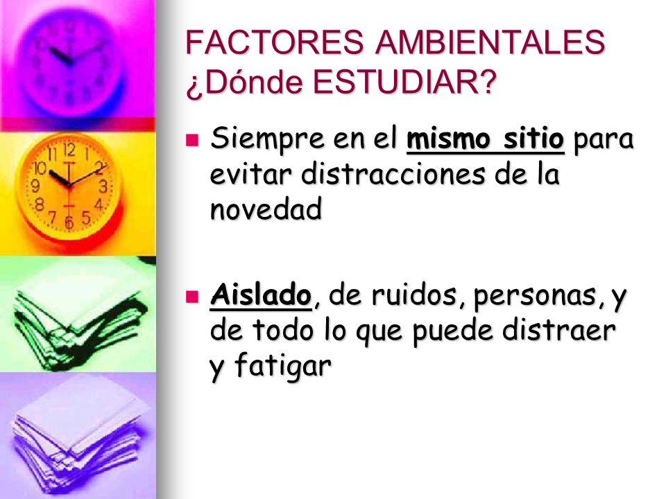 FACTORES AMBIENTALES ¿Dónde ESTUDIAR.