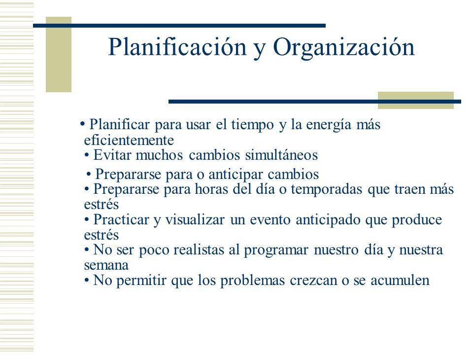Planificación y Organización Planificar para usar el tiempo y la energía más eficientemente Evitar muchos cambios simultáneos Prepararse para o antici
