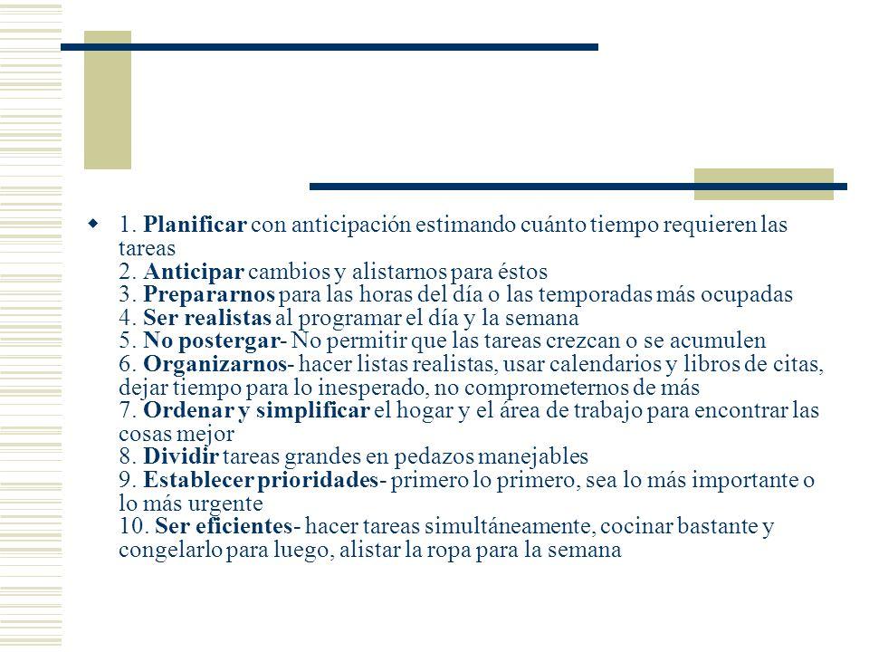 1. Planificar con anticipación estimando cuánto tiempo requieren las tareas 2. Anticipar cambios y alistarnos para éstos 3. Prepararnos para las horas