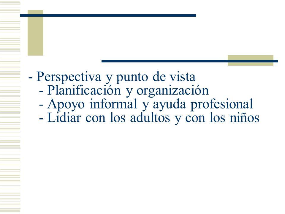 - Perspectiva y punto de vista - Planificación y organización - Apoyo informal y ayuda profesional - Lidiar con los adultos y con los niños