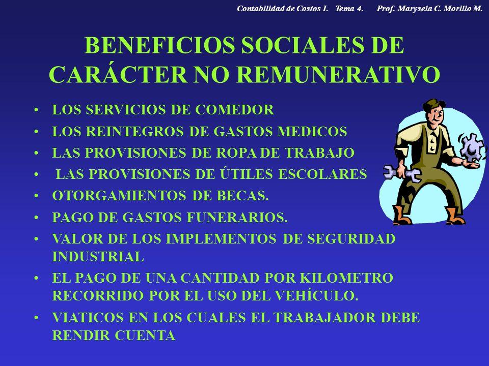 BENEFICIOS SOCIALES DE CARÁCTER NO REMUNERATIVO LOS SERVICIOS DE COMEDOR LOS REINTEGROS DE GASTOS MEDICOS LAS PROVISIONES DE ROPA DE TRABAJO LAS PROVI