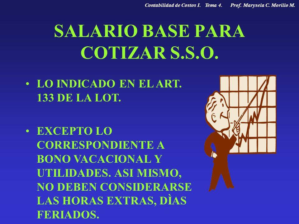 SALARIO BASE PARA COTIZAR S.S.O. LO INDICADO EN EL ART. 133 DE LA LOT. EXCEPTO LO CORRESPONDIENTE A BONO VACACIONAL Y UTILIDADES. ASI MISMO, NO DEBEN