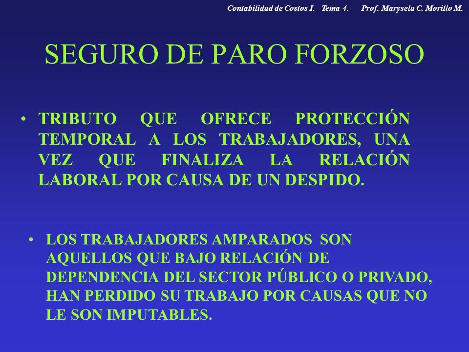 SEGURO DE PARO FORZOSO TRIBUTO QUE OFRECE PROTECCIÓN TEMPORAL A LOS TRABAJADORES, UNA VEZ QUE FINALIZA LA RELACIÓN LABORAL POR CAUSA DE UN DESPIDO. LO