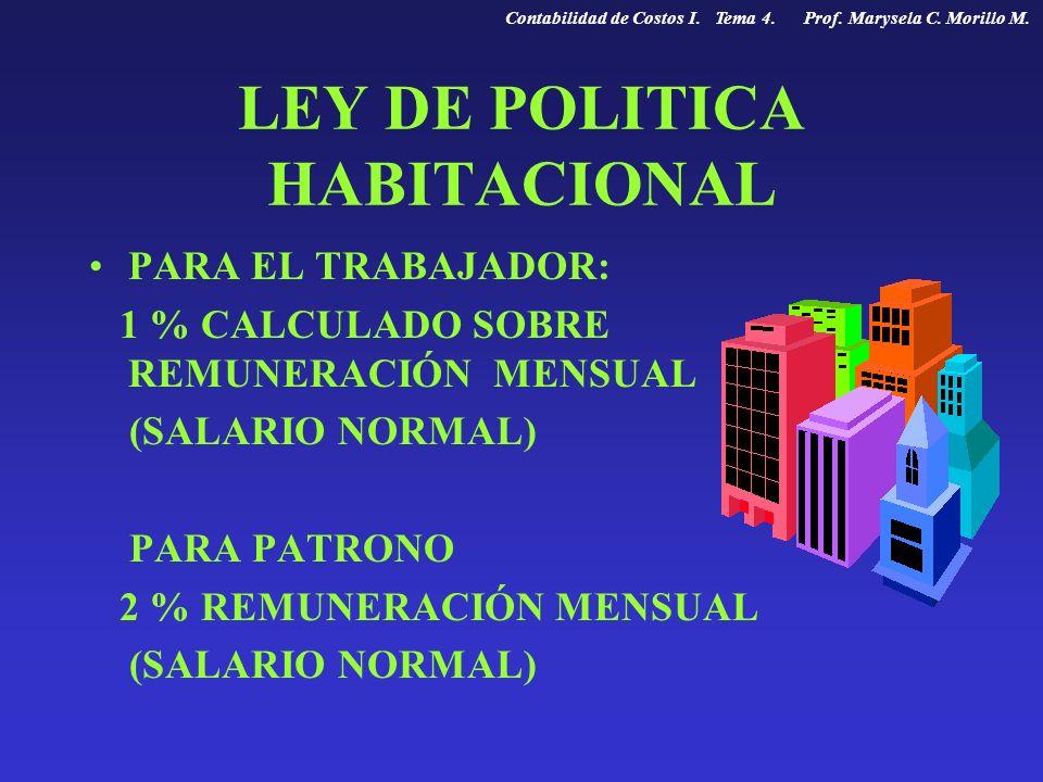 LEY DE POLITICA HABITACIONAL PARA EL TRABAJADOR: 1 % CALCULADO SOBRE REMUNERACIÓN MENSUAL (SALARIO NORMAL) PARA PATRONO 2 % REMUNERACIÓN MENSUAL (SALA