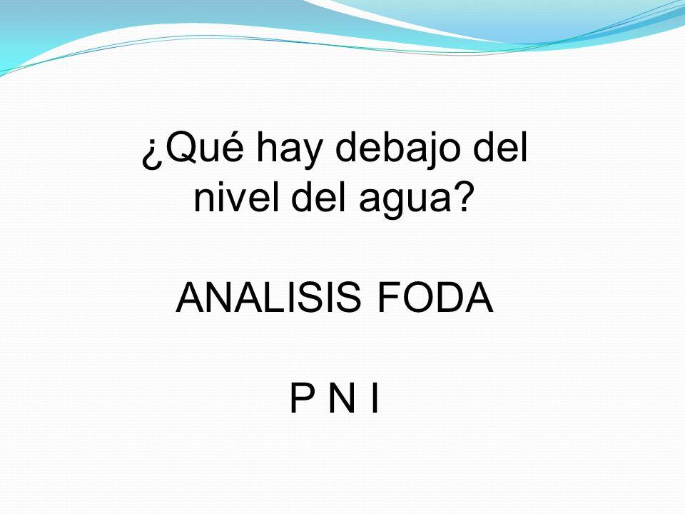¿Qué hay debajo del nivel del agua? ANALISIS FODA P N I