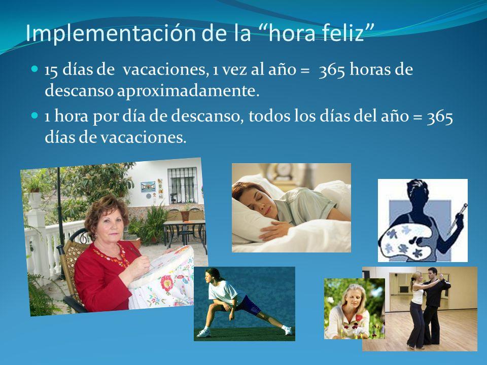 Implementación de la hora feliz 15 días de vacaciones, 1 vez al año = 365 horas de descanso aproximadamente. 1 hora por día de descanso, todos los día