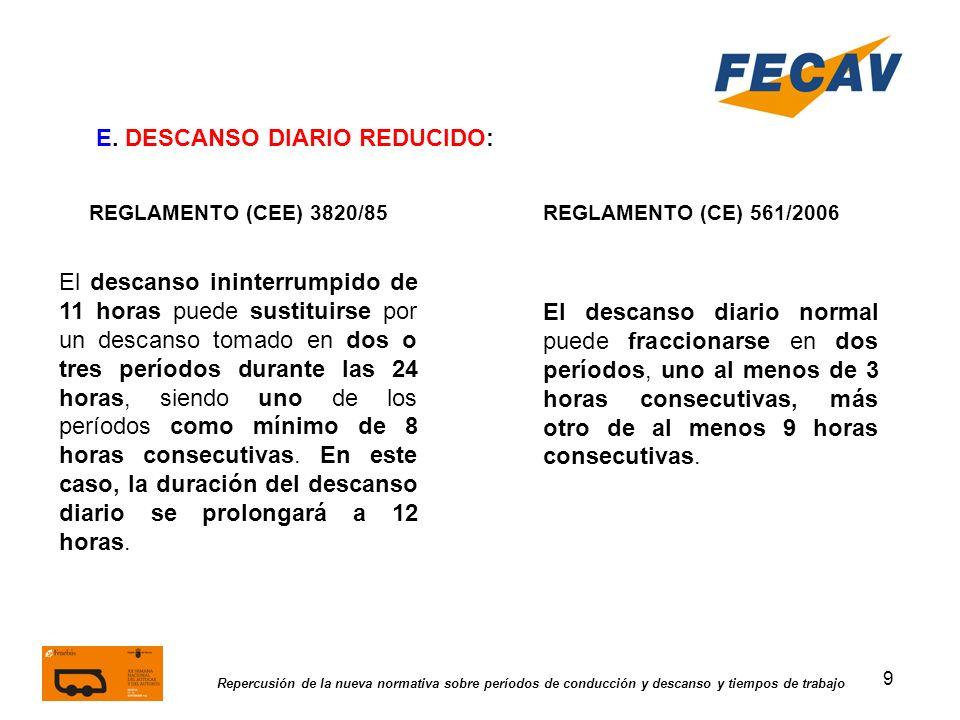 9 Repercusión de la nueva normativa sobre períodos de conducción y descanso y tiempos de trabajo REGLAMENTO (CEE) 3820/85REGLAMENTO (CE) 561/2006 E. D