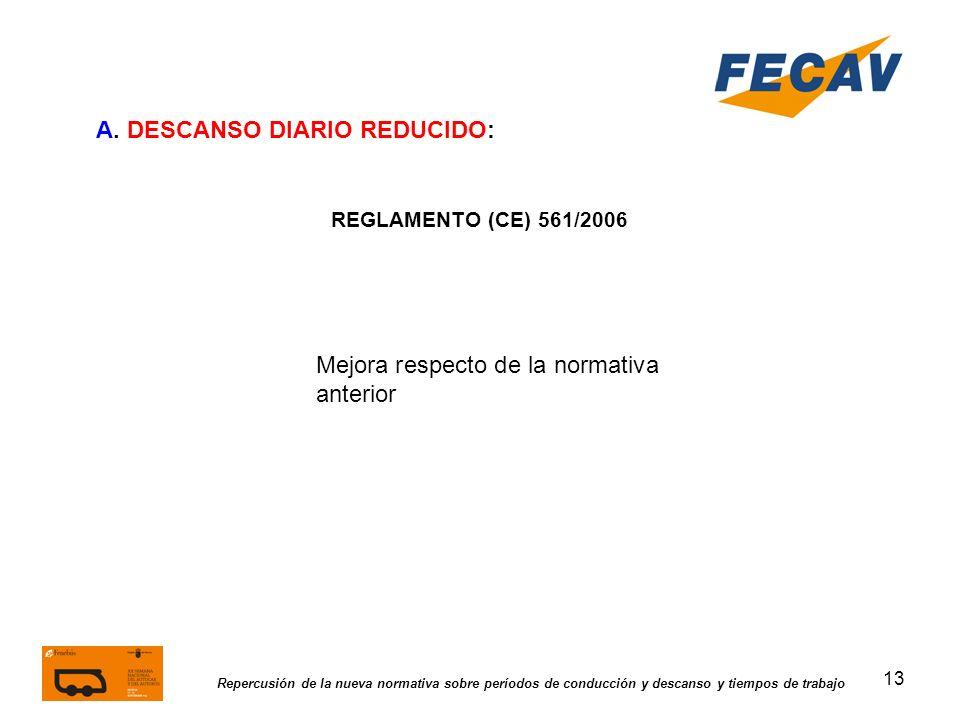 13 Repercusión de la nueva normativa sobre períodos de conducción y descanso y tiempos de trabajo REGLAMENTO (CE) 561/2006 Mejora respecto de la norma