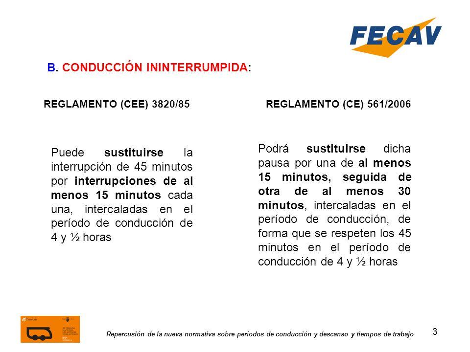 3 Repercusión de la nueva normativa sobre períodos de conducción y descanso y tiempos de trabajo REGLAMENTO (CEE) 3820/85REGLAMENTO (CE) 561/2006 B. C