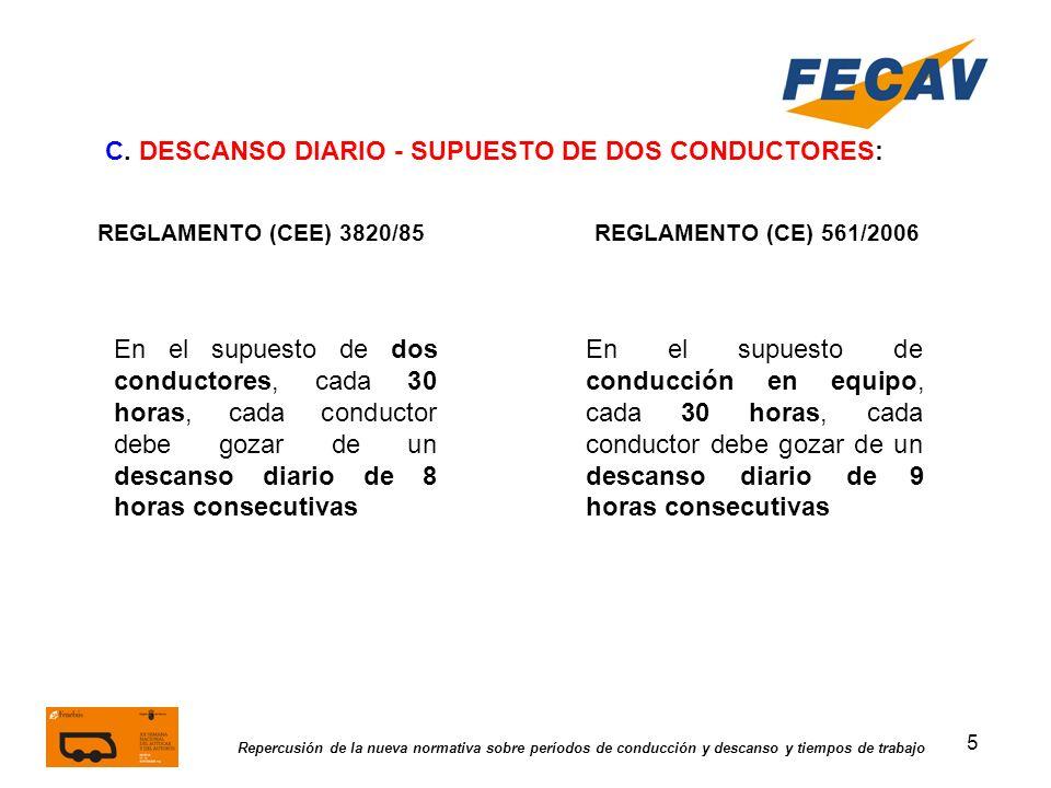5 Repercusión de la nueva normativa sobre períodos de conducción y descanso y tiempos de trabajo REGLAMENTO (CEE) 3820/85REGLAMENTO (CE) 561/2006 C. D