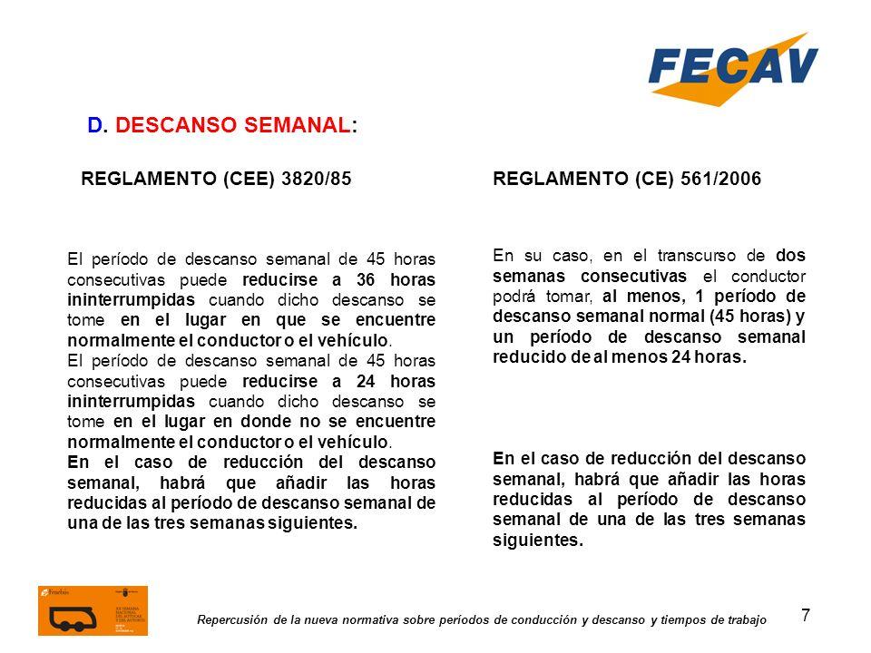 7 Repercusión de la nueva normativa sobre períodos de conducción y descanso y tiempos de trabajo REGLAMENTO (CEE) 3820/85REGLAMENTO (CE) 561/2006 D. D