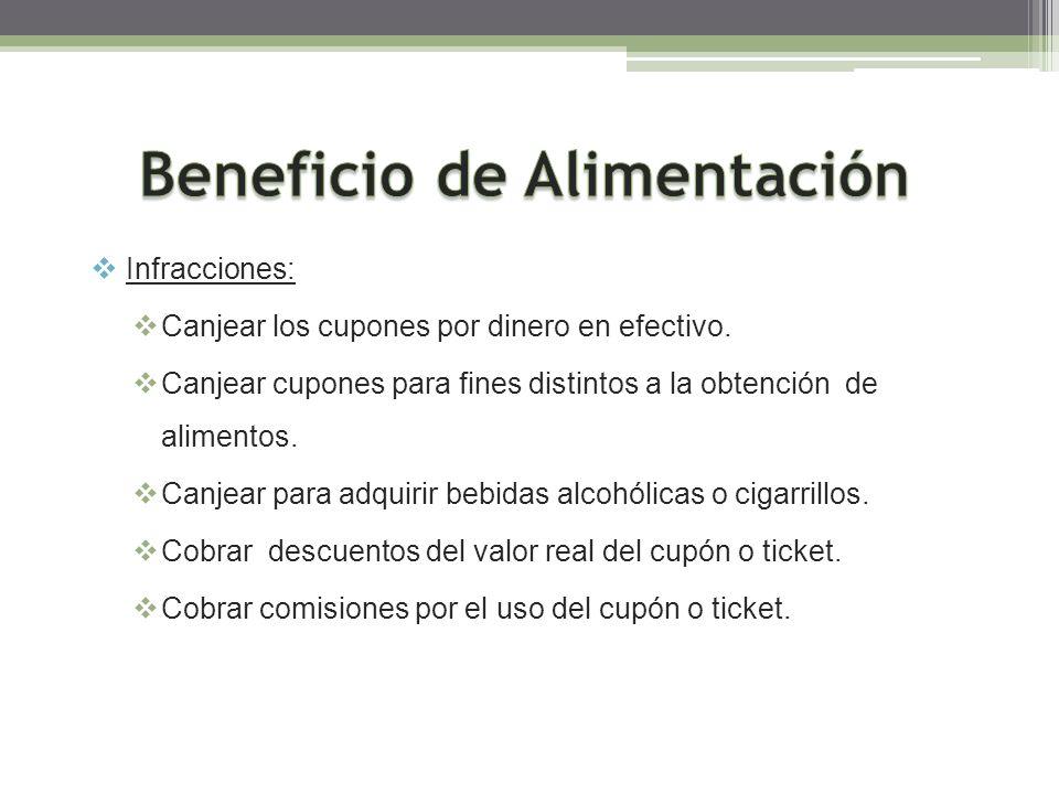 Infracciones: Canjear los cupones por dinero en efectivo. Canjear cupones para fines distintos a la obtención de alimentos. Canjear para adquirir bebi