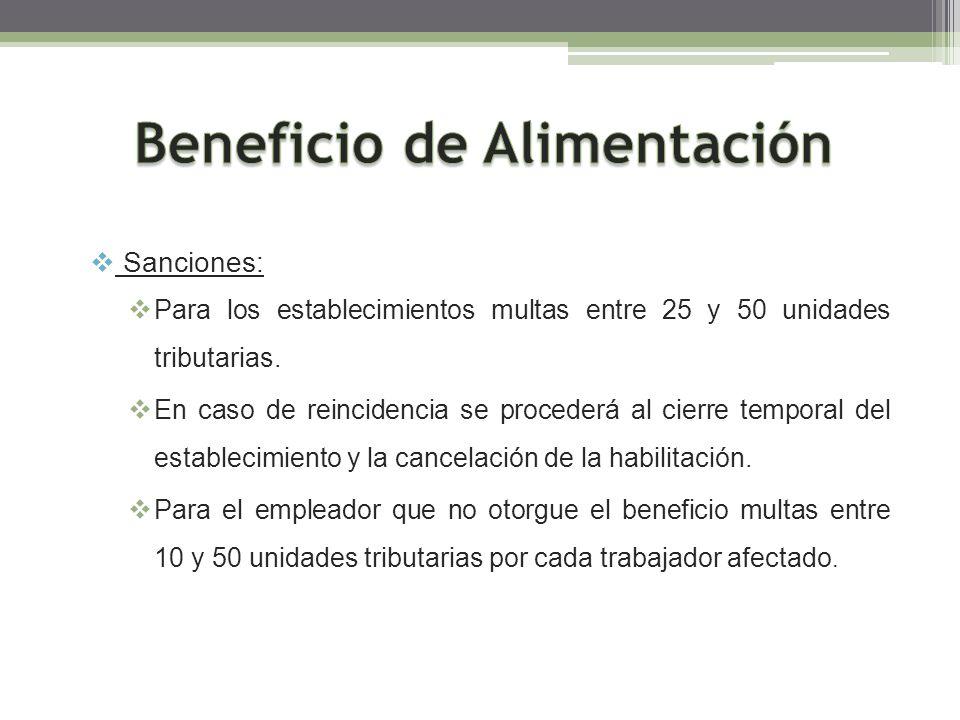 Sanciones: Para los establecimientos multas entre 25 y 50 unidades tributarias. En caso de reincidencia se procederá al cierre temporal del establecim