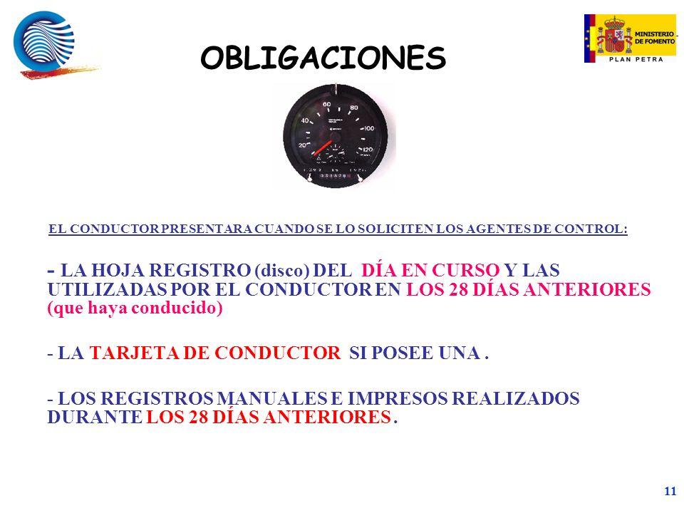 mc 11 EL CONDUCTOR PRESENTARA CUANDO SE LO SOLICITEN LOS AGENTES DE CONTROL: - LA HOJA REGISTRO (disco) DEL DÍA EN CURSO Y LAS UTILIZADAS POR EL CONDUCTOR EN LOS 28 DÍAS ANTERIORES (que haya conducido) - LA TARJETA DE CONDUCTOR SI POSEE UNA.