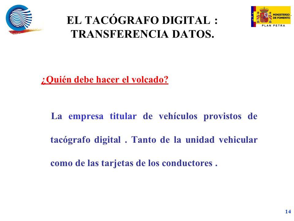 mc 14 ¿Quién debe hacer el volcado.La empresa titular de vehículos provistos de tacógrafo digital.