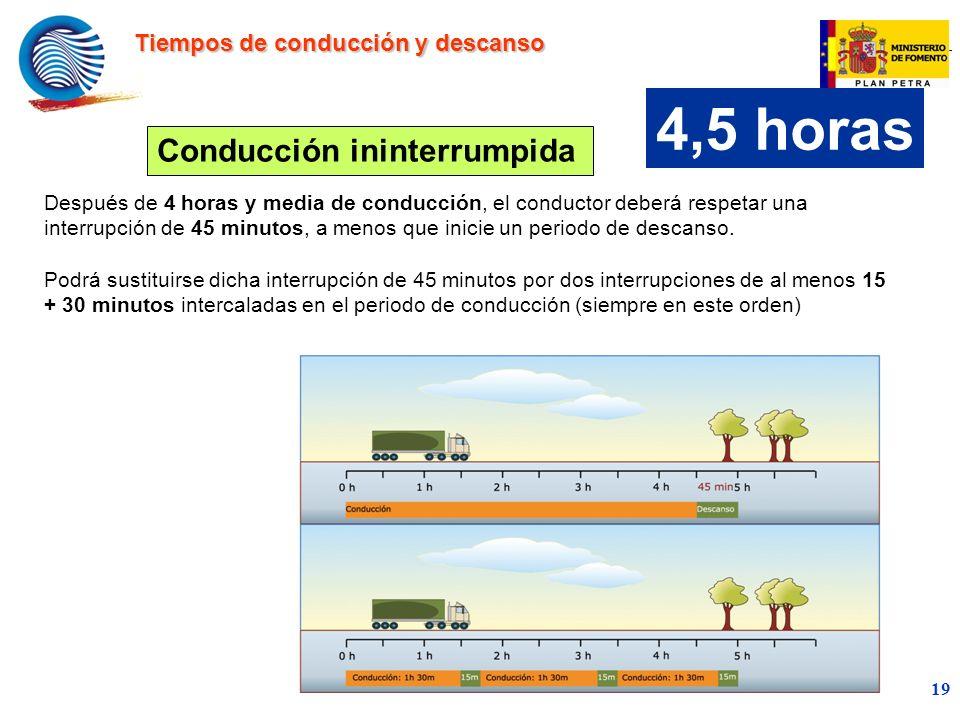 mc 19 Después de 4 horas y media de conducción, el conductor deberá respetar una interrupción de 45 minutos, a menos que inicie un periodo de descanso.