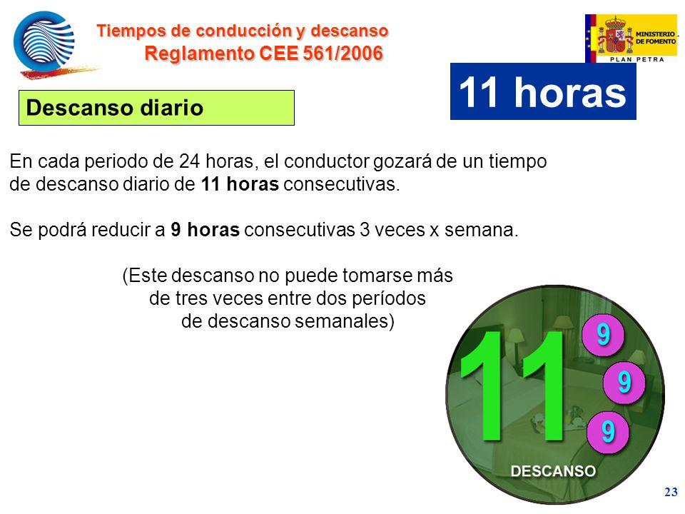 mc 23 En cada periodo de 24 horas, el conductor gozará de un tiempo de descanso diario de 11 horas consecutivas.