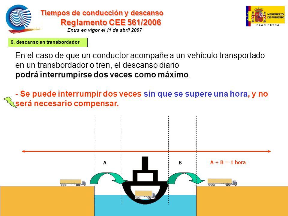mc 27 En el caso de que un conductor acompañe a un vehículo transportado en un transbordador o tren, el descanso diario podrá interrumpirse dos veces como máximo.