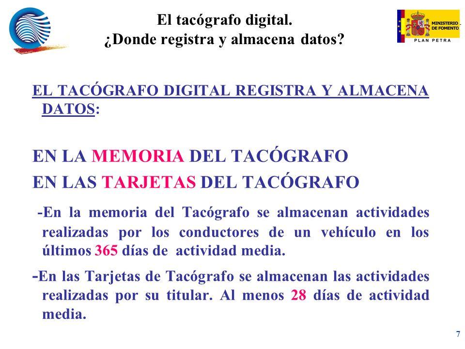 mc 7 El tacógrafo digital.¿Donde registra y almacena datos.