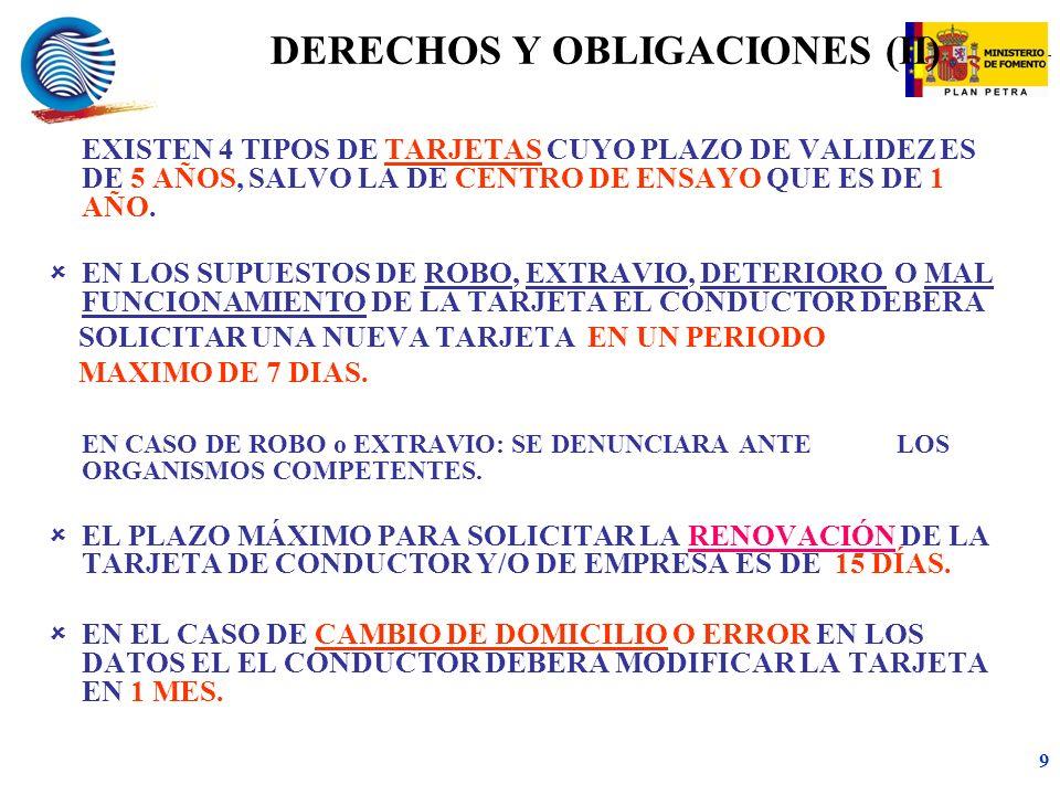 mc 9 DERECHOS Y OBLIGACIONES (II) EXISTEN 4 TIPOS DE TARJETAS CUYO PLAZO DE VALIDEZ ES DE 5 AÑOS, SALVO LA DE CENTRO DE ENSAYO QUE ES DE 1 AÑO.