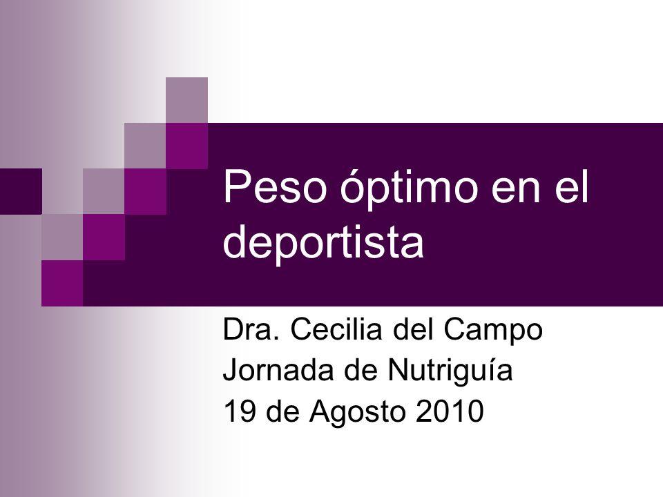Peso óptimo en el deportista Dra. Cecilia del Campo Jornada de Nutriguía 19 de Agosto 2010