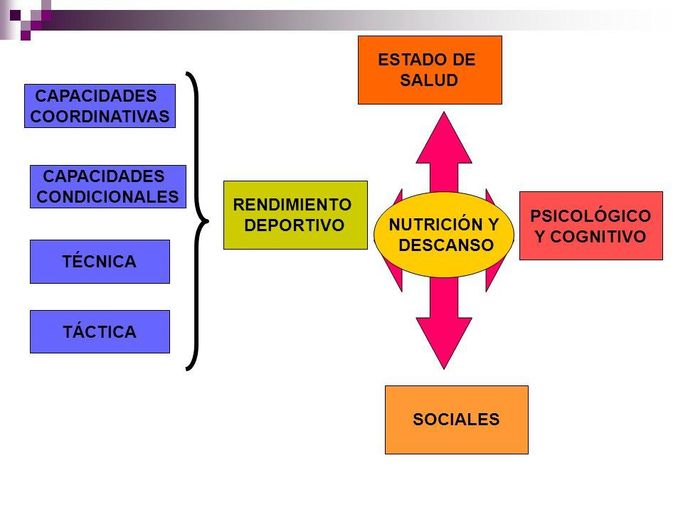 CAPACIDADES COORDINATIVAS CAPACIDADES CONDICIONALES TÉCNICA TÁCTICA RENDIMIENTO DEPORTIVO SOCIALES PSICOLÓGICO Y COGNITIVO ESTADO DE SALUD NUTRICIÓN Y