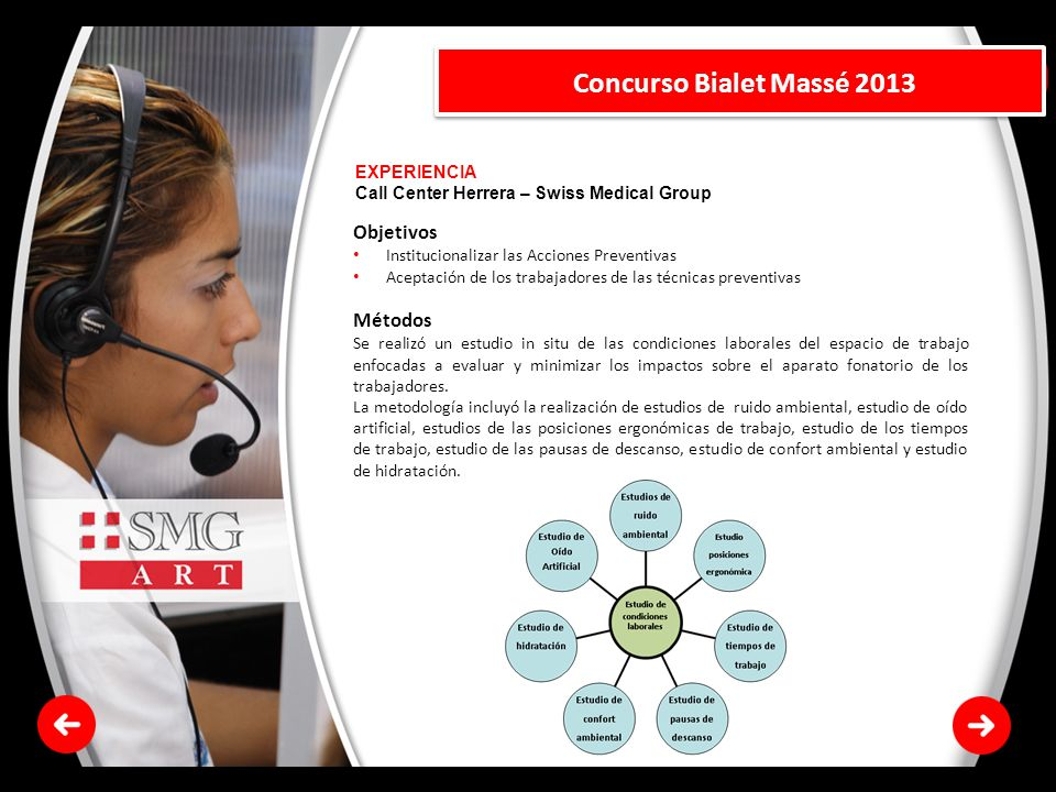 EXPERIENCIA Call Center Herrera – Swiss Medical Group Concurso Bialet Massé 2013 Objetivos Institucionalizar las Acciones Preventivas Aceptación de lo