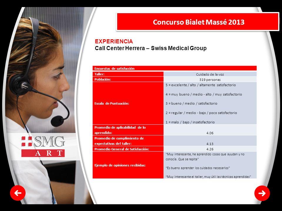 EXPERIENCIA Call Center Herrera – Swiss Medical Group Concurso Bialet Massé 2013 Encuestas de satisfacción Taller: Cuidado de la voz Población: 319 pe