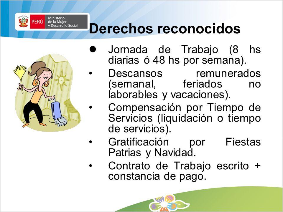 Trabajadores del hogar adolescentes El trabajo de los adolescentes se rige por el Código de los Niños y Adolescentes – Ley 27337.