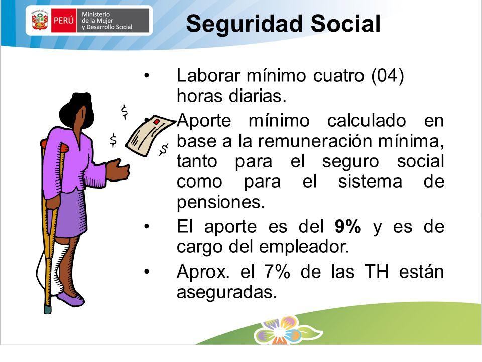 Laborar mínimo cuatro (04) horas diarias. Aporte mínimo calculado en base a la remuneración mínima, tanto para el seguro social como para el sistema d