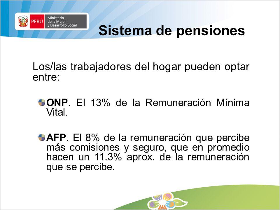 Sistema de pensiones Los/las trabajadores del hogar pueden optar entre: ONP. El 13% de la Remuneración Mínima Vital. AFP. El 8% de la remuneración que