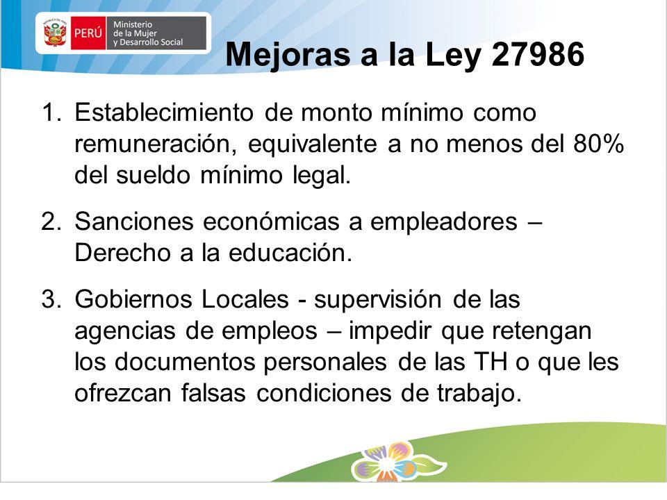 Mejoras a la Ley 27986 1.Establecimiento de monto mínimo como remuneración, equivalente a no menos del 80% del sueldo mínimo legal. 2.Sanciones económ