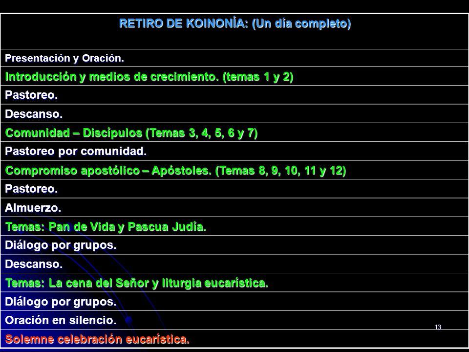 13 RETIRO DE KOINONÍA: (Un día completo) Presentación y Oración. Introducción y medios de crecimiento. (temas 1 y 2) Pastoreo. Descanso. Comunidad – D