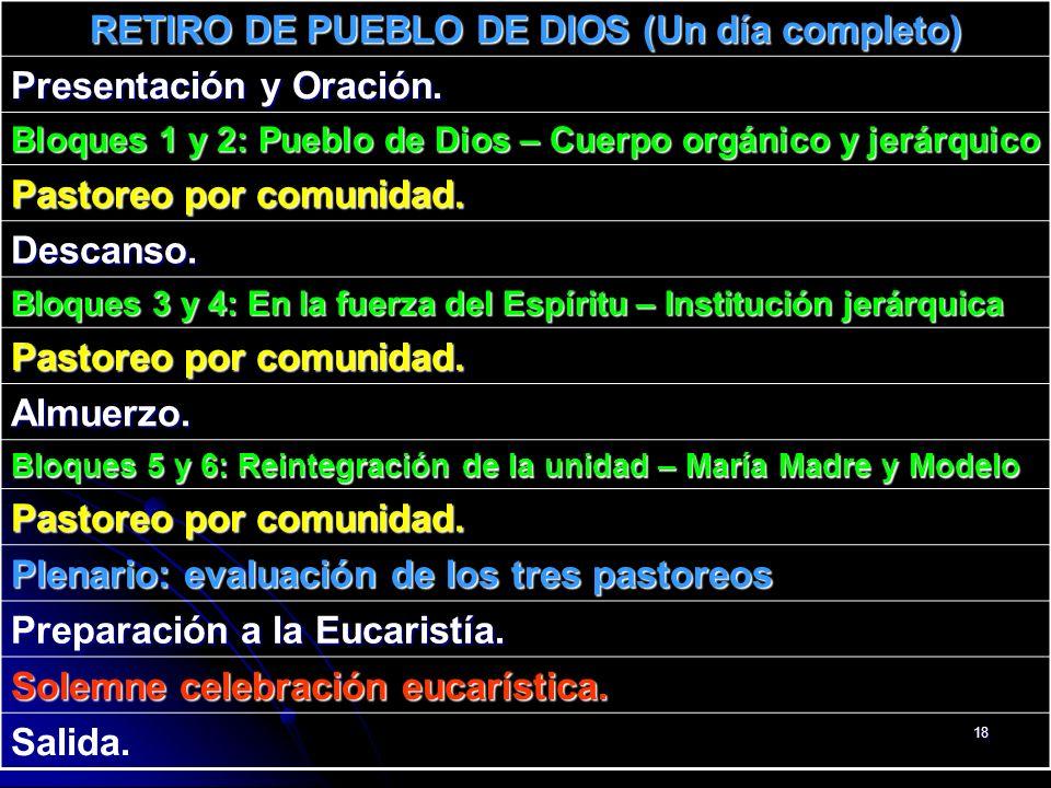 18 RETIRO DE PUEBLO DE DIOS (Un día completo) Presentación y Oración. Bloques 1 y 2: Pueblo de Dios – Cuerpo orgánico y jerárquico Pastoreo por comuni