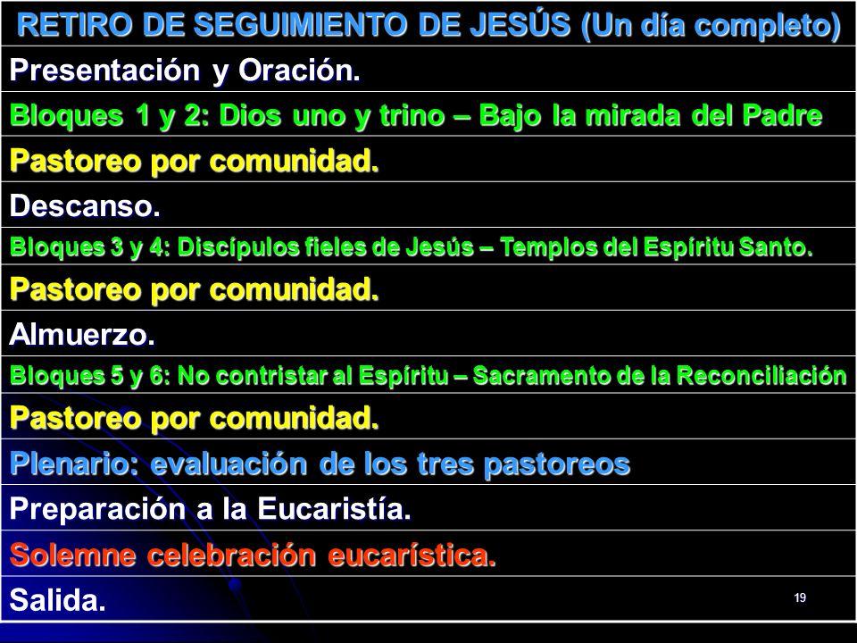 19 RETIRO DE SEGUIMIENTO DE JESÚS (Un día completo) Presentación y Oración. Bloques 1 y 2: Dios uno y trino – Bajo la mirada del Padre Pastoreo por co