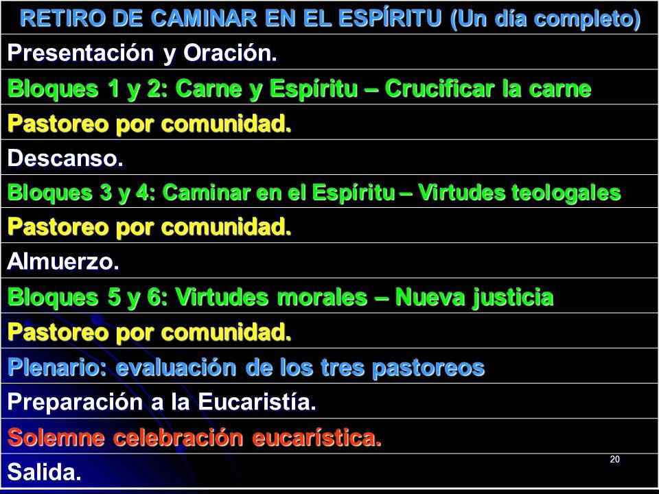 20 RETIRO DE CAMINAR EN EL ESPÍRITU (Un día completo) Presentación y Oración. Bloques 1 y 2: Carne y Espíritu – Crucificar la carne Pastoreo por comun