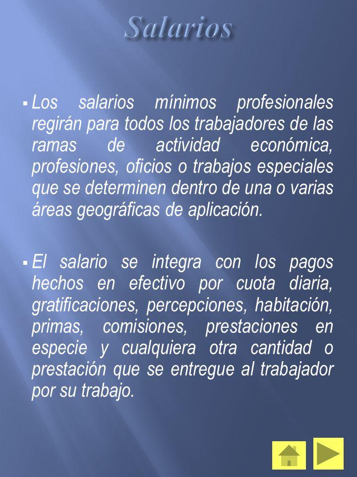 Los salarios mínimos profesionales regirán para todos los trabajadores de las ramas de actividad económica, profesiones, oficios o trabajos especiales