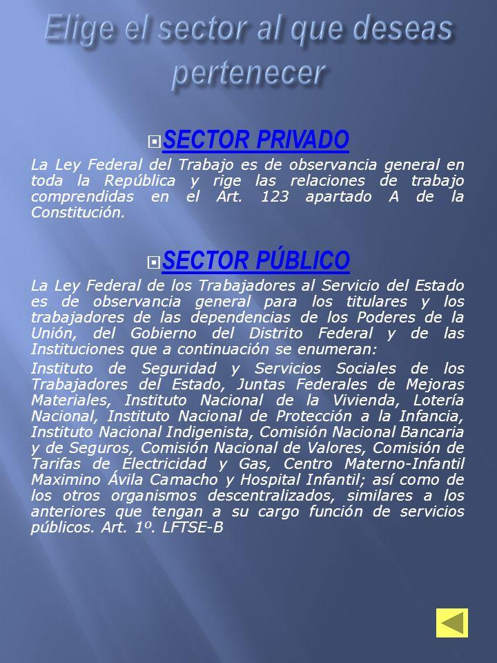 SECTOR PRIVADO La Ley Federal del Trabajo es de observancia general en toda la República y rige las relaciones de trabajo comprendidas en el Art. 123