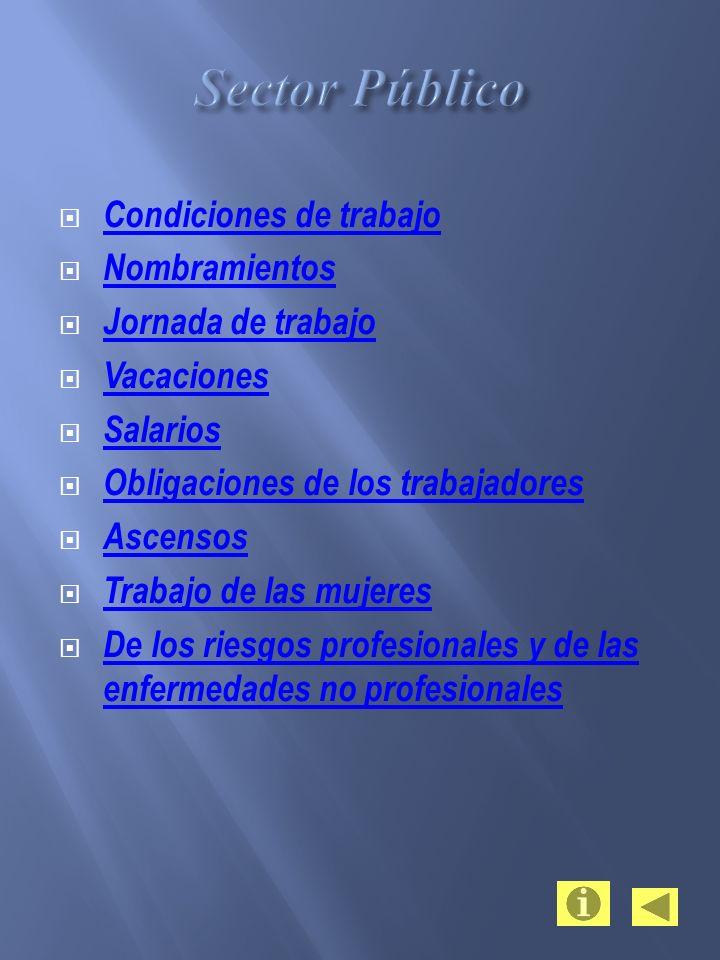 Condiciones de trabajo Nombramientos Jornada de trabajo Vacaciones Salarios Obligaciones de los trabajadores Ascensos Trabajo de las mujeres De los ri