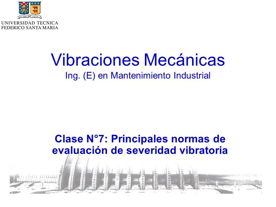 Medición en partes rotatorias de la máquina Criterio de evaluación I: magnitud de la vibración Los valores límites establecidos por estas normas, están dados en función de la velocidad de rotación.